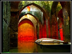 Ramla, The Ancient Pool of Arches (Flavio~) Tags: red water pool architecture boat ruins arches restoration cistern ramla