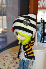 "Miu says ""Meh"" (Dreaming Magpie) Tags: november usa anime cute cup girl hat fashion yellow punk doll drink cosplay 10 stripes manga dal mcdonalds h dont planning va convention angry kawaii care dolly meh con jun 2010 bighead miu dollie naoto hnaoto animecon animeusa dontcare hangry junplanning"