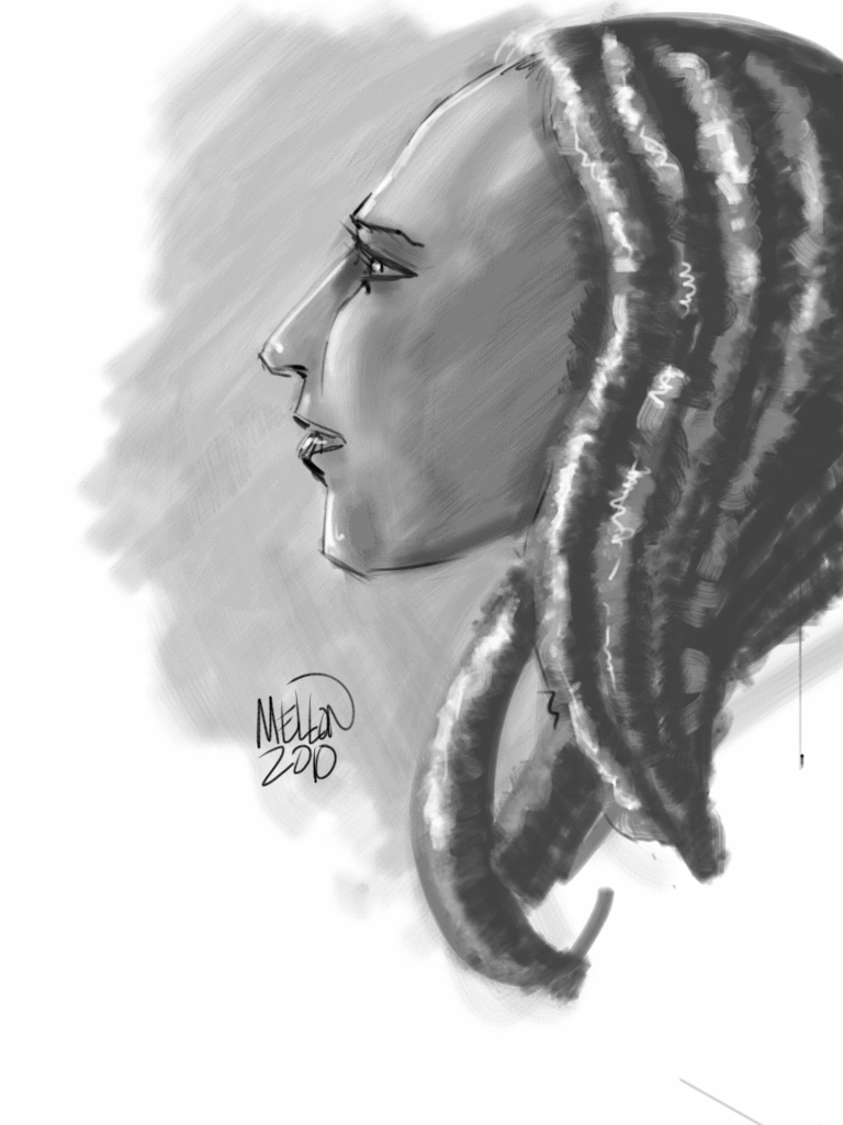 Grey Lady iPad Sketch by Kevin Mellon