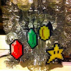 shiny things :) (spugmeistress) Tags: christmas holidays geek nintendo craft mario games videogames pixel etsy perler geekery legendofzelda folksy christmastreedecoration hamabeads