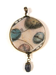 Vintage Ephemera Series - Bird Study Round Pendant with Iolite Drop (1)