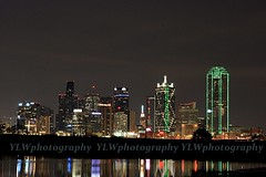 skyline shot taken from Trammell Crow Park - 2 (Formosa Photography) Tags: park light moon tower reunion skyline night canon eos rebel lights dallas downtown view cloudy arena crow xsi trammell 450d