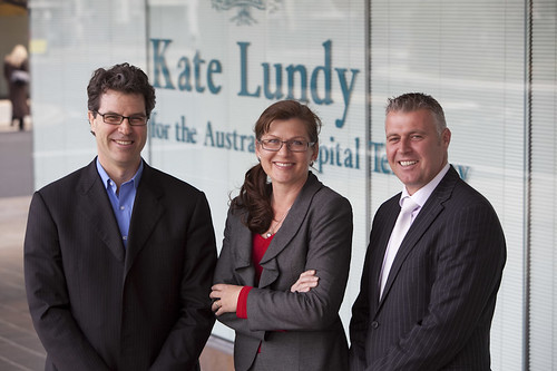 Senator Kate Lundy with Roland Kulen and Robert Lukic