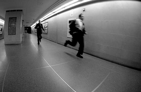 New York Commuters Running for trains at Grand Central Station