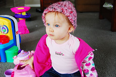 beanie in a beanie (daisy_princess) Tags: baby girl toys blueeyes daughter cupcake sweetheart beanie 12months 1year milla millarose
