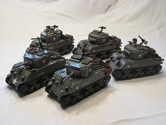 "M4A1(75) Shermans-- 3rd Platoon, I Company, 32nd Armored Regt., 3rd Armored Division (""Rumrunner"") Tags: 3 men army gun mood tank lego wwii rifle machine pot american ww2 division armour armored 3rd m4 sherman worldwar2 allies m4a1 brickarms brickmania"
