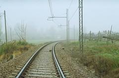(giovanegian) Tags: railroad autumn italy fall fog track tranquility calm silence pentacon  modena nebbia autunno calma ferrovia absence silenzio  binario kodakgold200   m42lens tranquillit assenza  exa1c helios442