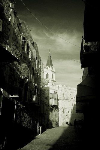 Christian Quarter before sunset (B&w)