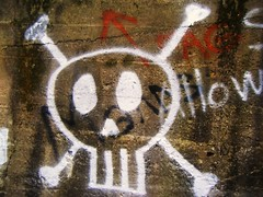 (ifiwereabird) Tags: skull graffiti crossbones