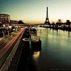 LightRoom Addict (Marc Benslahdine) Tags: light paris building cars car sunrise boats lights cityscape eiffeltower trails tra