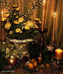 Golden Christmas Joy: #Flickr12Days (faith goble) Tags: christmas xmas music stilllife holiday art glass rose yellow metal urn glitter bells photoshop happy gold star mirror beads lemon candles artist glow photographer shine metallic ky terracotta flames faith vine garland sparkle card creativecommons carol poet greenery gleam writer peaches eucalyptus brass glimmer greeting luminous bowlinggreen shimmer refection trinket brocade candlesticks wethreekings youtube freetouse goble dantebucci gographix kentuckycc faithgobleart flickr12days