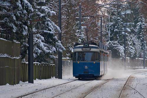 Aufgewirbelter Schnee umweht 2028 zwischen den Villen in Grünwald