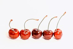 Nature's Candy (Maggggie - Ask about Take Aim Group) Tags: cherries red white five stems 365 fruit simple nik takeaim horizontal