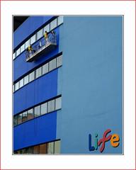 jobs  |  4  |  life (photoABRUZZO) Tags: lifecentre centreforlife newcastle tyneandwear northeastengland blue bluewall paintingrig highlevelworking thepainters jobforlife blueshades shadesofblue sirterryfarrell designedby newcastlesciencevillage