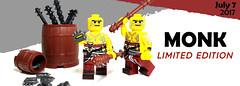 July 2017 - Monk Minifigure (BrickWarriors - Ryan) Tags: lego brickwarriors minifigure custom printed limited edition cestus quarterstaff monk castle medieval rpg fantasy