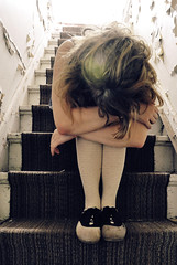 (yyellowbird) Tags: house selfportrait abandoned girl stairs illinois cari kneesocks saddleshoes