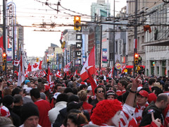 Crowd in downtown Vancouver Celebrating Canada's Hockey Victory