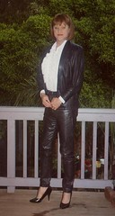Leather Jeans 1c (Melissa451) Tags: cd melissa crossdresser leatherjacket leathersuit whiteblouse leatherjeans