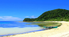 Escape (Jen3nidad) Tags: blue trees sea sky sun mountain green beach water boat sand philippines shore g11 suf anguib