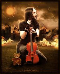Destruction - Whendel d'Souza (W h e n d e l l) Tags: sol girl fire destruction guerra estrelas céu knowing nuvens fogo prédios urso destruição violino chamas meteoros presságio whendeldsouza