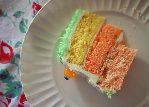 mango cake sliced