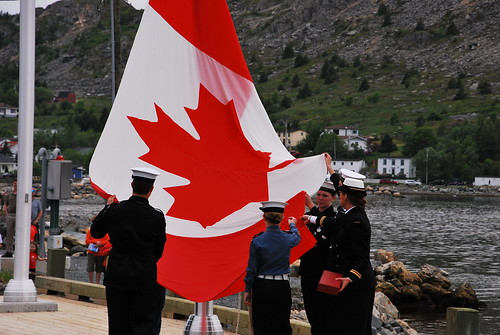 Raising Canadian Flag