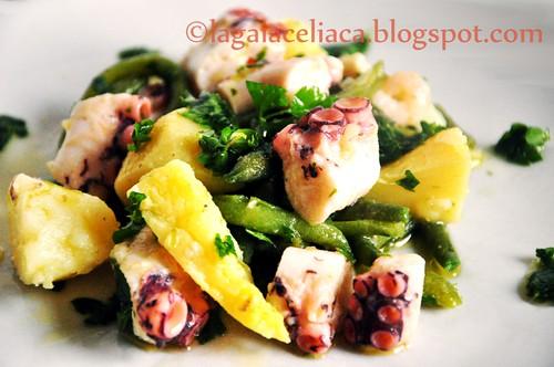 insalata tiepida di polpo, patate e fagiolini