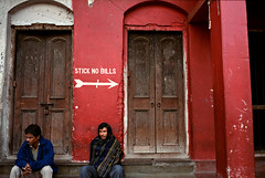 (bradford daly) Tags: leica red india west sign bills no 28mm arrows stick arrow kolkata bengal kalighat