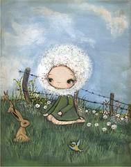 (the poppy tree) Tags: blue sky flower rabbit bunny bunnies bird art girl field grass clouds fence painting print acrylic cloudy dandelion canvas whimsical dandelions thepoppytree