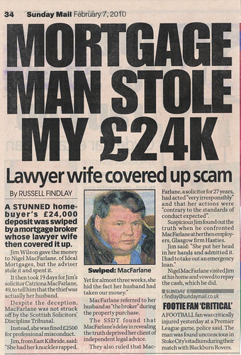 Mortgage Man Nigel MacFarlane stole my 27k