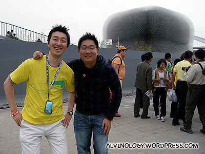 Riki-san and me outside the UK pavilion