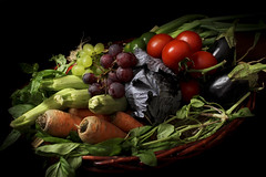 Vegetarian (Matthew Vassallo) Tags: stilllife black green colors vegetables leaves canon eos healthy kiss colours tomatoes mint onions lettuce grapes vegetarian carrots cabbages x3 500d flickraward