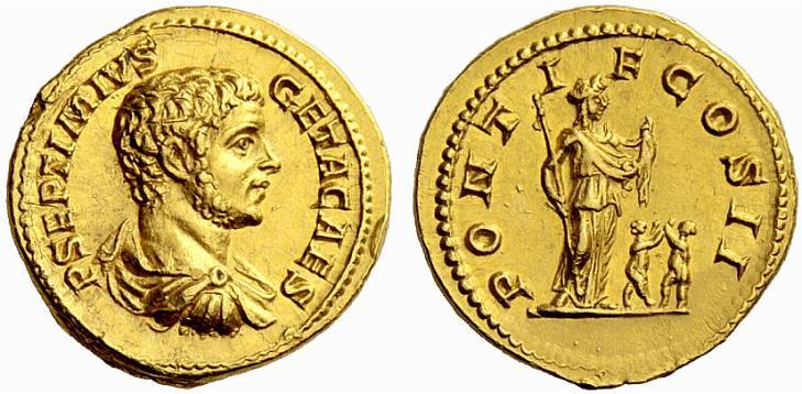 A Rare Roman Gold Aureus of Geta (209-211 C.E.) as Caesar, a Superb Vernal Portrait