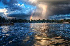 Nature's Fireworks (Philerooski) Tags: sky cloud lake water rain clouds washington rainbow dock perspective july explore wa fourth frontpage hdr highdynamicrange diamondlake