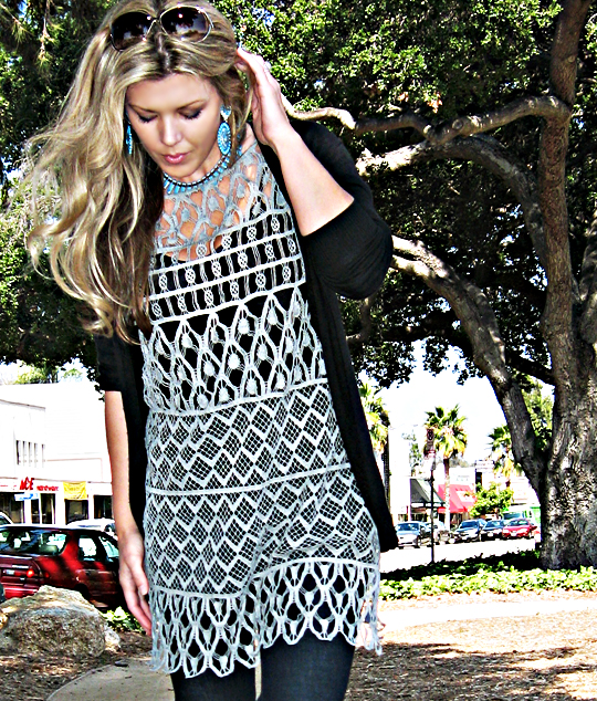 white and warren crocheted dress+turquoise drop earrings+j brand bell bottoms