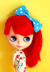 Bright and Happy (onecoppercent) Tags: red yellow bright jubilee blythe custom pcm bigbow frfr sugaroni fantasyhair