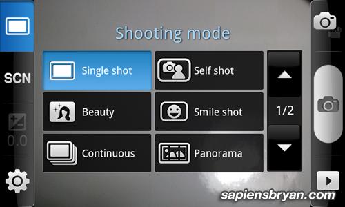 Samsung Galaxy S Scene Mode