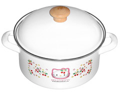 Hello Kitty Strawberry Pot (pkoceres) Tags: birthday wood pink kitchen japan strawberry stainlesssteel hellokitty sanrio pot present pan 2008 cookware tableware dishware enamel  enamelware        boughtonebay    hellokittystrawberry