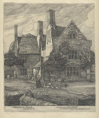 Etching of Woolbridge Manor, Wool in Dorset, unsigned 1920s 0r 30s (Etchings Plus - playing on new smart phone!) Tags: wool etching dorset manor hardy wareham tessofthedurbervilles woolbridge wellbridge