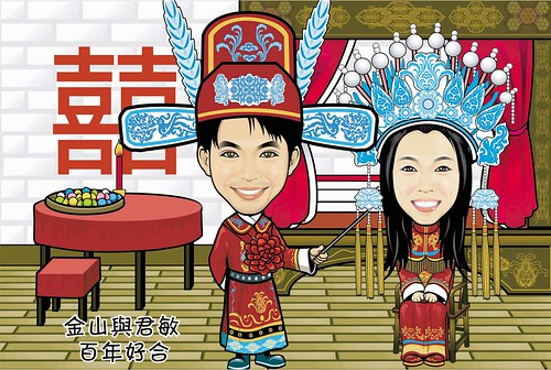 Q-digital couple caricatures -traditional Chinese wedding