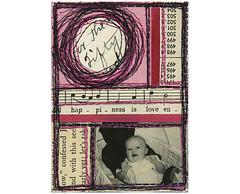Mixed Media ACEO (potatobird) Tags: mixedmedia stitching vintagephotos bookpages