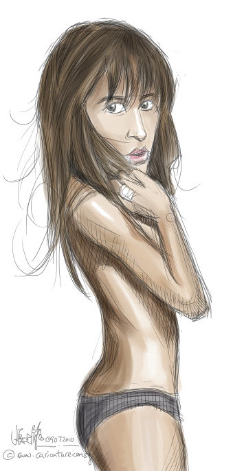 digital sketch of Sophie Marceau - 2 small