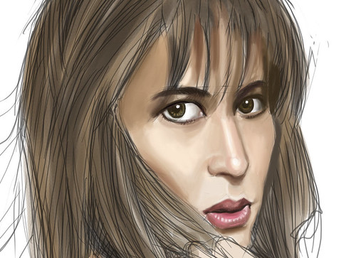 digital sketch of Sophie Marceau - 3 small