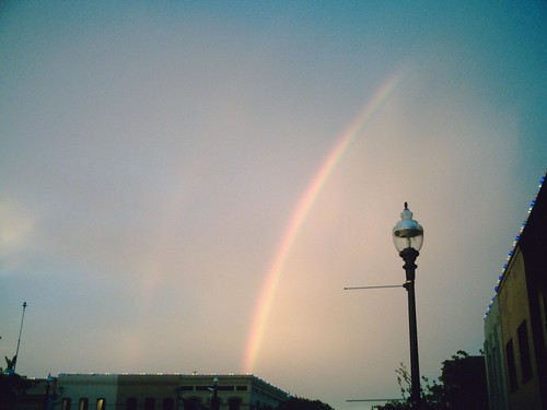 rainbow over downtown McKinney, TX