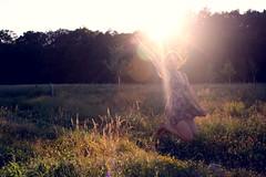 Natural Spotlight (oOTheSmallOneOo) Tags: light sunset portrait sun flower nature girl field evening jump ray meadow spotlight human flare goldenhour