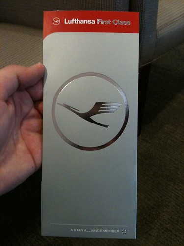 The Lufthansa First Class boarding pass sleeve. It's slick.
