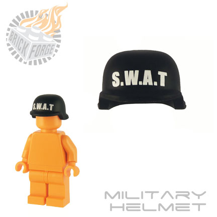 Military Helmet - Black (white SWAT print)