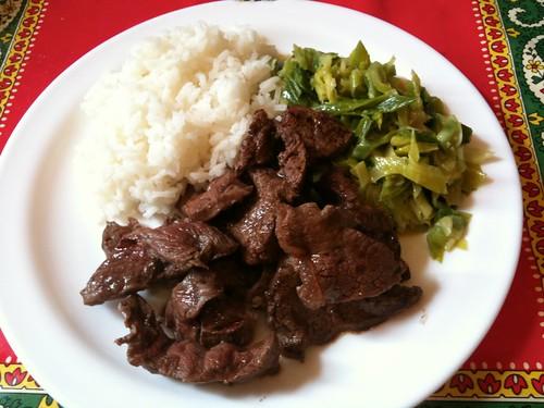 bœuf, poireau, riz