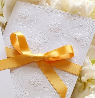 embossedweddinginvitations verawangfloralweddinginvitation verawangembossedzinnia yellowbowweddinginvitations