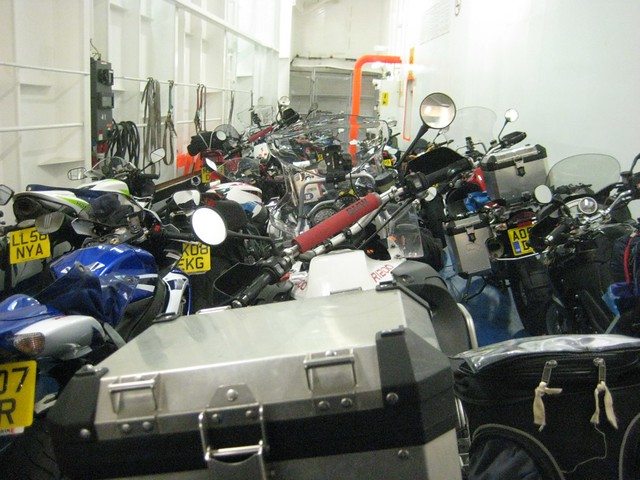 Over a hundred motorcycles on the ferry to Santander